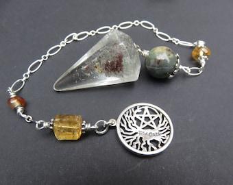Shamanic Dream Stone Pendulum, Australian Chrysoprase, Natural Citrine, Vintage Carnelian, Sterling Chain, Sterling Tree of Life w/ Pentacle