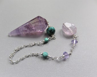 Ametrine Pendulum Turquoise Beads, Swarovski Crystals, Sterling Chain, Free Form Amethyst on the end