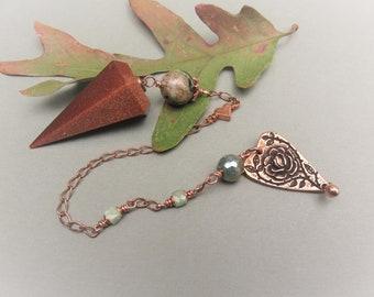 Goldstone Pendulum, Hand Carved in Brazil, Ocean Jasper, Burma Jade & Mystic Jasper Beads, Copper Hearts, Solid Copper Chain,