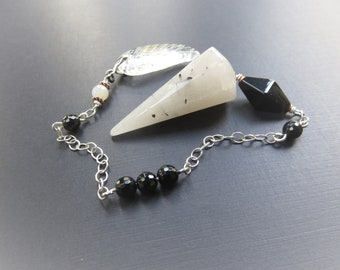 Tourmalated Quartz Pendulum, Faceted Onyx, Mystic Agate and Vintage Art Deco beads, Sterling Chain, Quartz Angel Wing