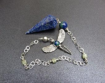 lapis Pendulum, Azurite & Burma Jade Beads, Sterling Chain, Vintage Sterling Native American Bead, Wellstone Sterling Eagle Dancer Pendant