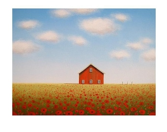 BARN PRINT, Red Poppy Painting, Farm Print, Wall Art, Wall Decor, Landscape painting by S. France , Farm print