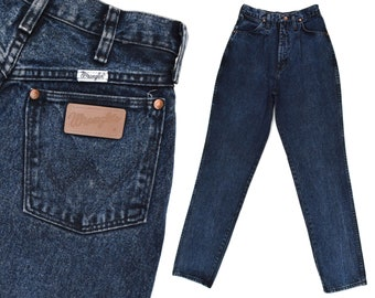 f58c83614b535 Vintage Wranglers Jeans Womens High Rise Western Jeans Slim Fit Dark Indigo  Jeans 80s Womens Western Tapered Jeans Urban Cowgirl Jeans 25 W