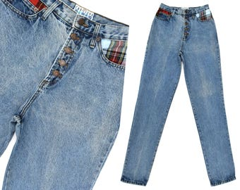 5e76fbadd7863 Vintage High Waisted Jeans 80s Plaid Patched Jeans Womens Exposed Button  Fly Jeans Slim Fit Taper Leg Jeans 80s Mom Jeans 28 Waist