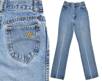 76e594394486c 80s Vintage Denim Jeans High Waisted Jeans Womens Vintage CHIC Jeans Faded    Distressed Straight Leg Jeans 80s High Waist Mom Jeans 25 Waist