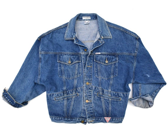 Vintage Oversized Denim Jacket 80s Guess Denim Jacket Dark Etsy