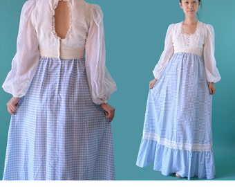 Vintage 70s Maxi Dress Boho Long Maxi Dress / Romantic Empire Waist Hippie Dress / KEYHOLE Back Sheer Balloon Sleeves 1970s Bohemian Dress S