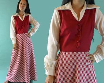 Bohemian Maxi Dress / Vintage 70s Hippie Dress Long Sleeve / 70s Dress / High Waist Long Maxi Dress 70s Clothing S