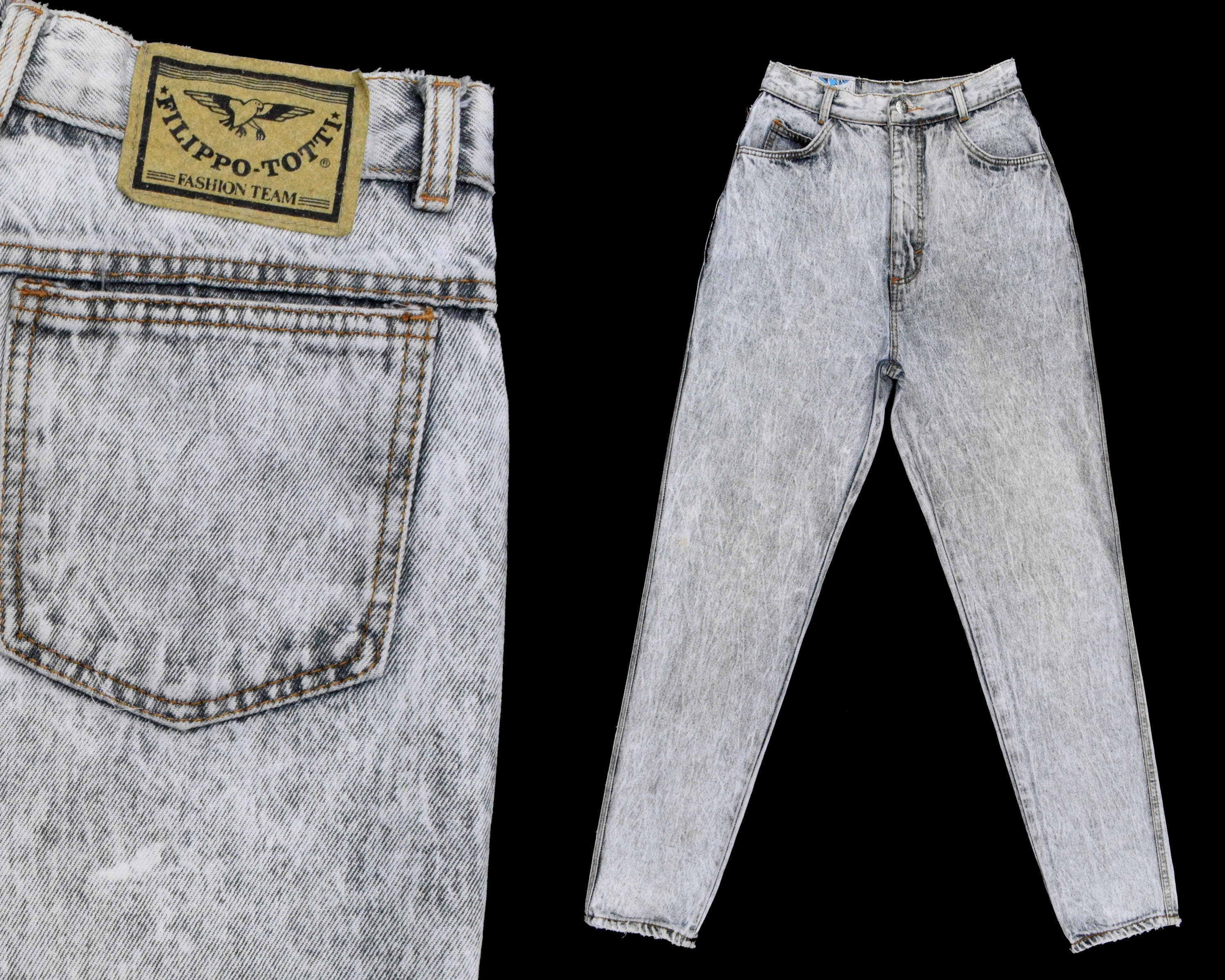 e1c099f5aa671 80s Vintage High Waisted Jeans FILIPPO TOTTI Jeans Gray Acid
