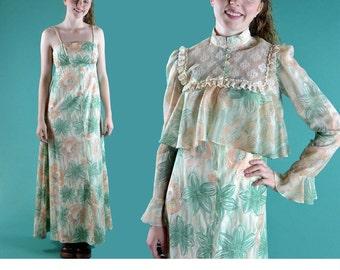 Vintage 70s Maxi Dress Bohemian Hippie Long Maxi Dress Spaghetti Straps Sleeveless Empire Waist Festival Dress Sheer Ruffle Lace Jacket S