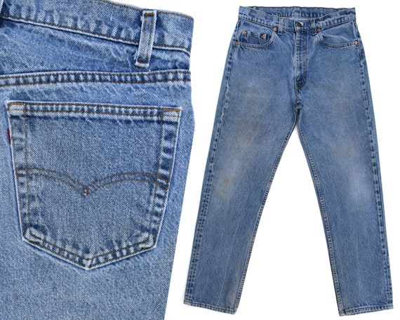 Vintage Levis Jeans Mens Levi 505 Jeans Dark Denim Levis Jeans Faded Distressed Levi Straight Leg Jeans Levi 505s Mens Levi Jeans 32 x 28