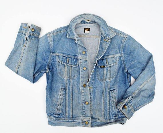 82dd8a8f92 Destroyed Vintage Denim Jacket 70s LEE Denim Jacket Oversized