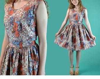 1950s Vintage Dress 50s Day Dress Retro Floral Dress Full Skirt High Waist Sleeveless Dress Vintage Sun Dress Womens Vintage 50s Dress M