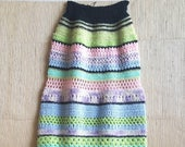 Vintage 1970s Granny Afghan Hand CROCHET Pastel Maxi Skirt   Black, Mint Green, Yellow, White, Blue, Aqua, Orchid, Pink, Gray
