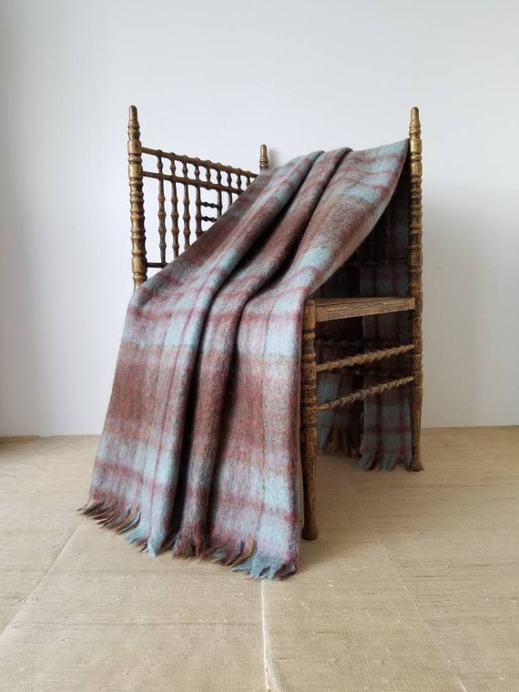 "Vintage Scottish Mohair Wool Plaid Camp Blanket Aqua Blue, Chartreuse Green, Mauve Rust Orange, Vicuna Brown, Olive Green, Gray | 50"" X 68"" by Etsy"