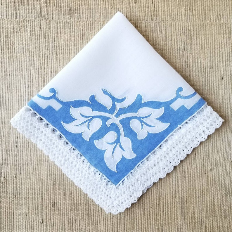 bride or bridesmaids gift gift for her Vintage 1950s Blue and White Bridal Hankie with White Applied Crochet Lace 14 sq