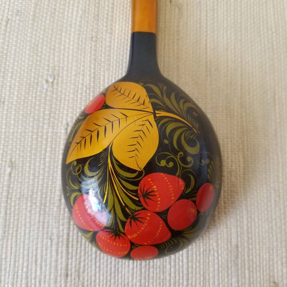 Vintage Ussr Russian Toleware Spoon Serving Piece, Hand Painted, Black Gold Oxblood Red Ladle Serving Spoon, Decorative Serviceware by Etsy
