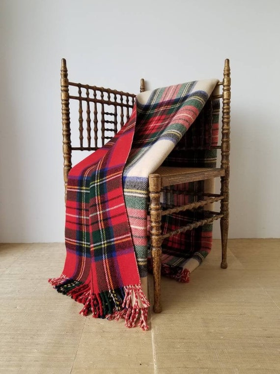 "Vintage 1950s Reversible Red & Cream Wool Tartan Camp Blanket, Royal Stewart To Dress Stewart, Red Black Cream Green Yellow Blue, 56"" X 56"" by Etsy"