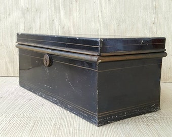 Vintage 1930s STRONG BOX with gold pinstriping |  old Bankers Box | Steel hinged lid box | cool storage box | industrial chic | rustic