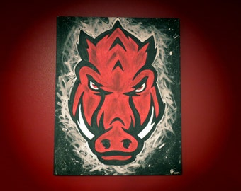 Officially Licensed Arkansas Razorback NEW Logo Painting- FREE SHIPPING!