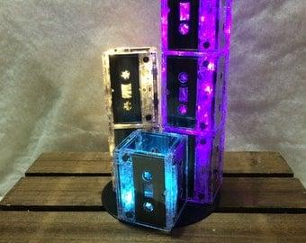 1980's 1990's Cassette Centerpiece, 3 Tiers Set/ Parties, Events, Mixtape, Record Base, LED lights, Pick your own colors!