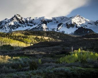 Mountains photo, aspen trees spring, aspen tree photo, spring snow mountain art, Colorado art, rustic wall decor, log cabin art, snow photo