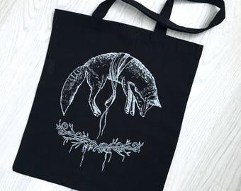 Fox Tote Bag | Fox Print Bag | Fox Bag | Kitsune Bag | Shopper Tote | Fox Tote | Fox Gift | Fox Art | Woodland Animals