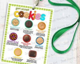 2019 ABC Girl Scout LANYARD Cookie List NO Prices, Printable Booth Menu 4in x 5in, (4) Menus per 8.5x11 Page Only 8 Cookies - No Choc. Chip