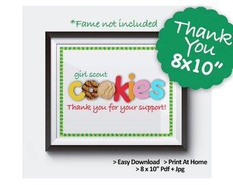 2019 Girl Scout Cookie THANK YOU Certificate Print 8x10 Printable Cookie Booth Decor Supplies Appreciation Printables - Frame Not Included