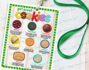 2019 LBB Girl Scout LANYARD Cookie List NO Prices, Printable Booth Menu 4in x 5in, (4) Menus per 8.5x11 Page All 8 Cookies