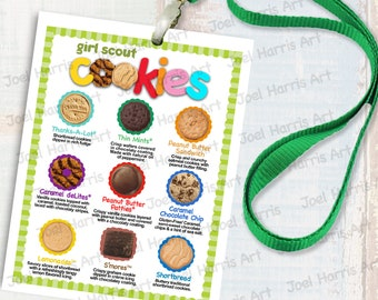 2019 ABC Girl Scout LANYARD Cookie List NO Prices, Printable Booth Menu 4in x 5in, (4) Menus per 8.5x11 Page All 9 Cookies