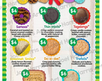 2019 LBB Girl Scout Cookie Price List GS Booth Menu 8.5 x 11 Printable, Cookies Priced 4.00 and 6.00, Girls Scouts supplies for more sales