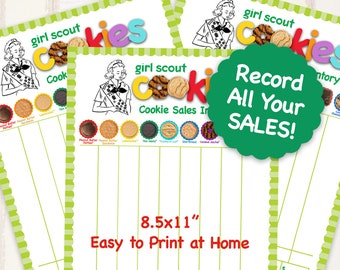 2019 ABC Girl Scout Cookie INVENTORY LIST Printables Girl Scouts Cookies Tally Sheet Booth Decor 8.5 x 11 Printable supplies for More Sales