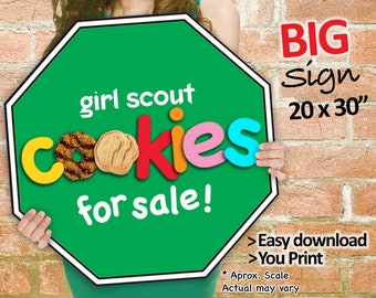 Girl Scout Cookies STOP Sign Cookie Booth Printable JUMBO GREEN 20x30 and Girl Scouts Cookie Booth Decor Banner Supplies, Plus Bonus 8.5x11
