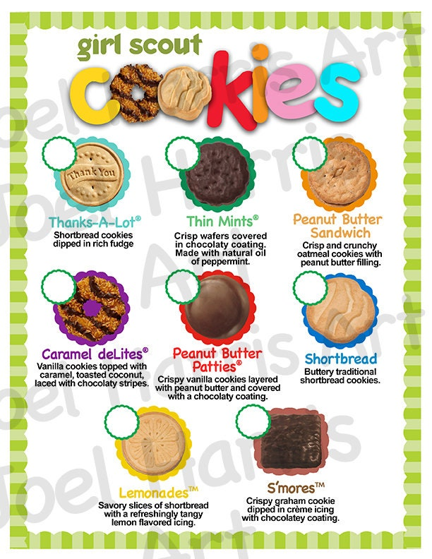 2019 Abc Girl Scout Cookie Price List Gs Cookie Booth Menu -5507