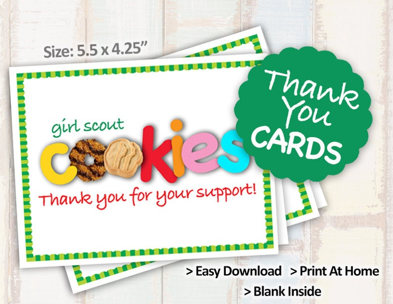 image relating to Girl Scout Cookie Thank You Note Printable named Sale! 2019 Woman Scout Cookie THANK By yourself CARD Blank Take note Playing cards Printables 2/site 8.5x11 Printable Cookie Booth Decor Products --\u003eOn Sale!\u003c--