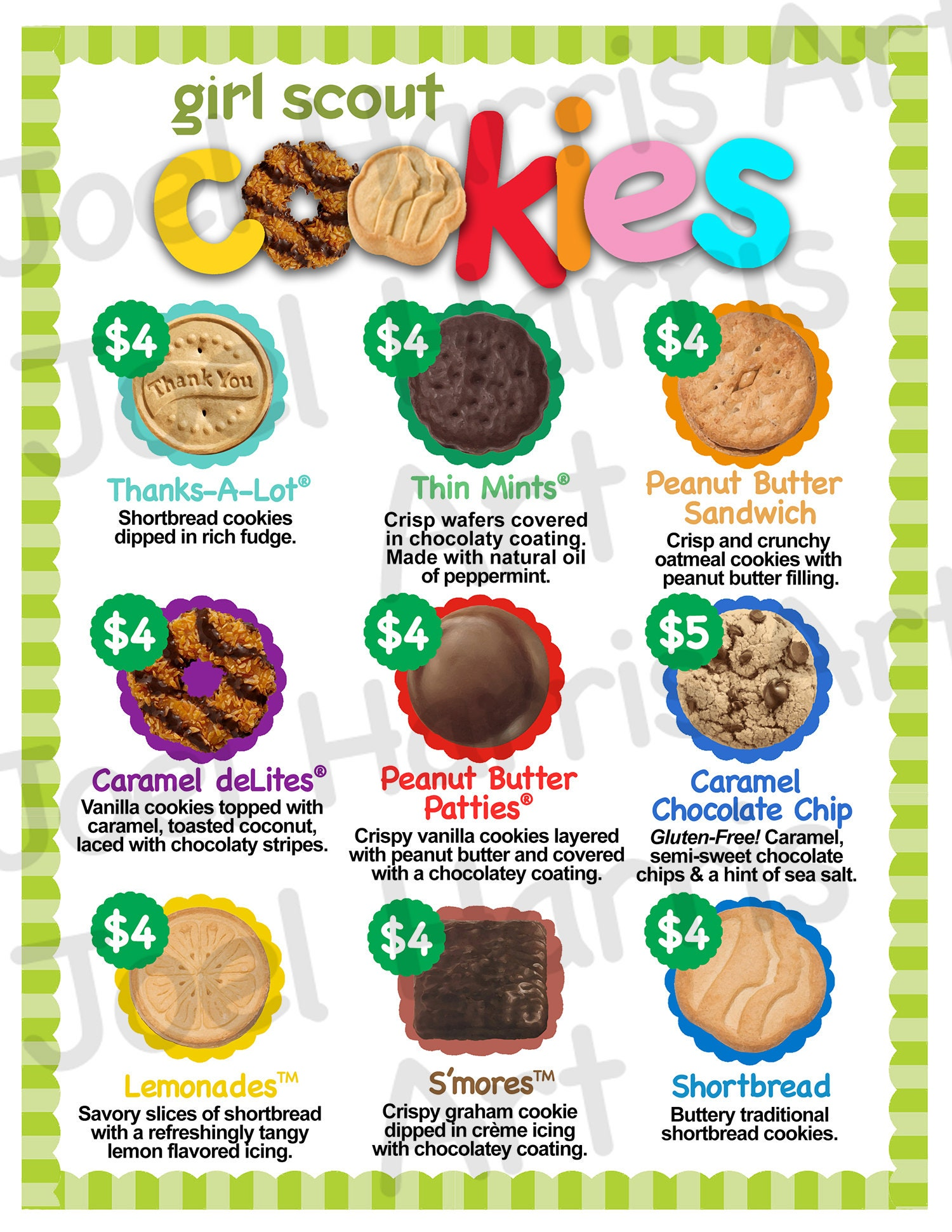 2019 Abc Girl Scout Cookie Price List Gs Booth Menu 85 X -6169