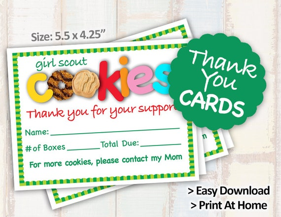 photograph relating to Girl Scout Cookie Thank You Note Printable referred to as 2019 Woman Scout Cookie Get Variety Thank By yourself Card Receipt Blank Take note Playing cards Printables 2/web page 8.5x11 Printable for Cookie Booth Decor Resources