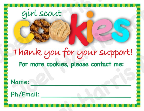 2019 Cookie Thank You Cards Girl Scout Printable Note Card Etsy