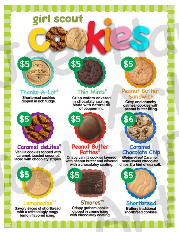 New 2019 Abc Girl Scout Cookie Price List Gs Booth Menu 8 -9026