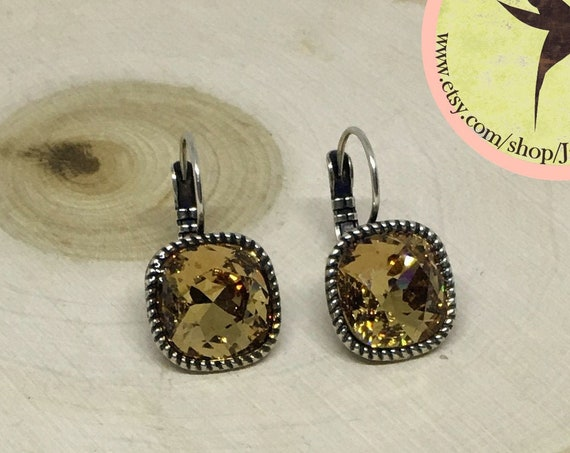Swarovski Light Smoked Topaz Crystal Earrings Set In Antique Silver Plated Lever Back Setting