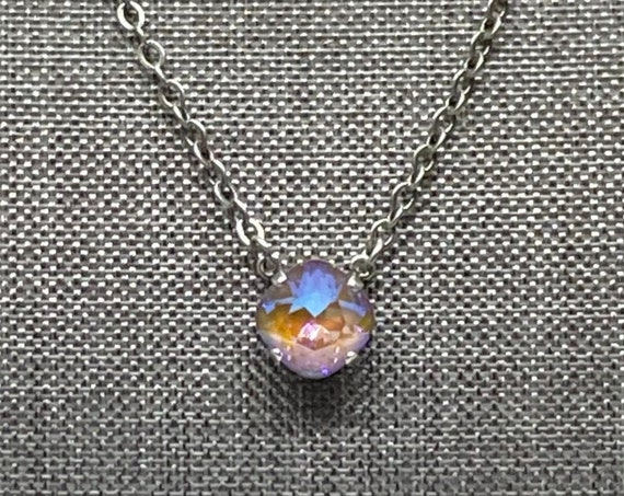 New Swarovski Color, Cappuccino DeLite Crystal, 12mm Square Solitaire Necklace, 16 Inch Antique Silver Necklace With 2 Inch Extender