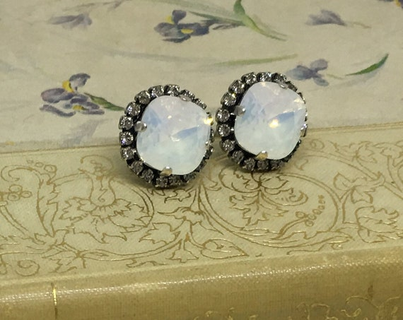 Swarovski White Opal Crystal Earrings Set In Antique Silver Plated Lever Back Setting With Eighteen Swarovski Rhinestones