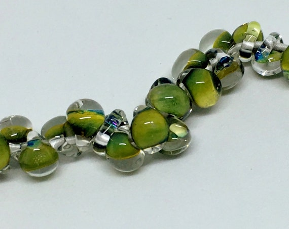Olive Green Mini Boro Teardrop Beads, Made by Unicorne Beads In The USA, 25 Beads Per Strand