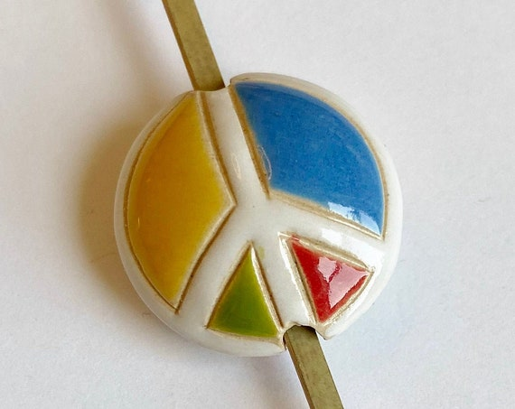 Peace Sign Bead, Multi Colored Peace Sign, Artisan Focal Bead, Golem Design Studio Beads, Medium Lentil
