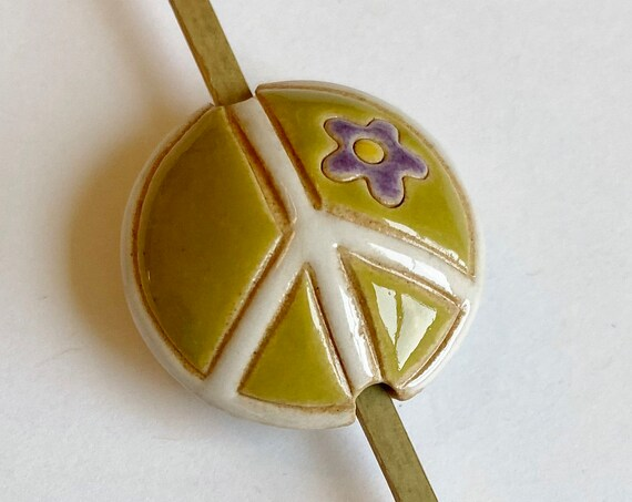 Peace Sign Bead, Green Apple Colored Peace Sign, Artisan Focal Bead, Golem Design Studio Beads