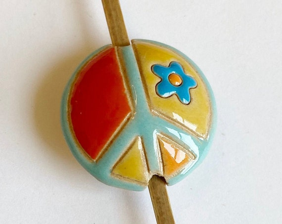 Peace Sign Bead, Multi Colored Peace Sign, Artisan Focal Bead, Golem Design Studio Beads