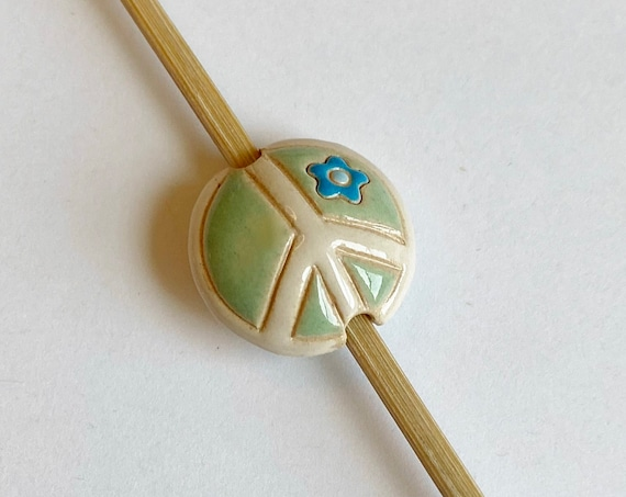Peace Sign Bead,  Light Green And White Peace Sign With Periwinkle Flower, Small Lentil, Artisan Focal Bead, Golem Design Studio Beads