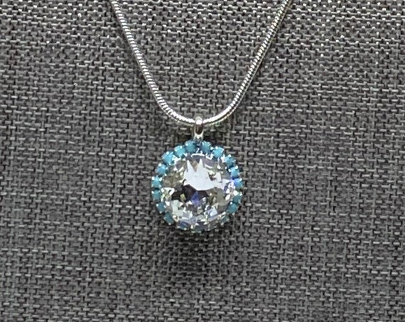 Swarovski Crystal 12mm Square Solitaire Necklace Accented with Swarovski Turquoise, 18 Inch Sterling Silver Over Copper Necklace