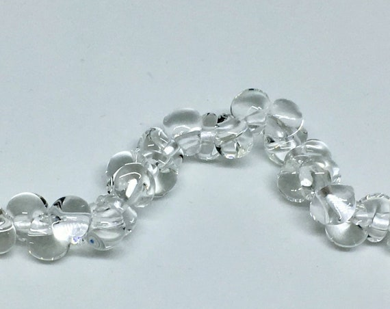Clear Mini Boro Teardrop Beads, Made by Unicorne Beads, 25 Beads Per Strand